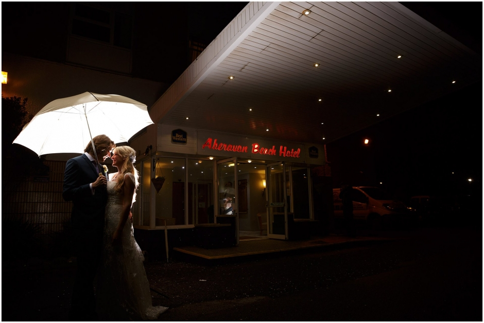 Aberavon Beach Hotel Entrance at night under an umbrella